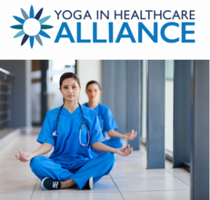 Yoga in Healthcare Alliance Logo and meditating Medical Staff